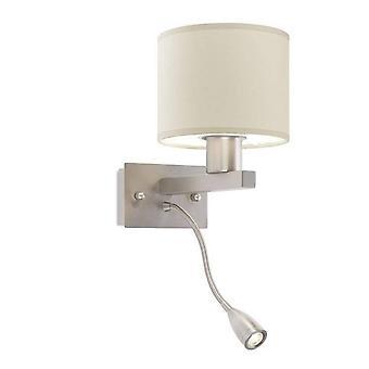 LED 2 Licht Indoor Wandleuchte Satin Nickel mit Leselampe, E27