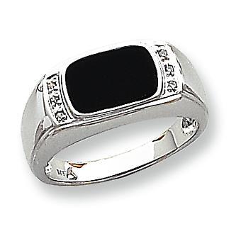 14k oro bianco trilioni lucido aperto indietro non engraveable Onyx simulato e Diamond Mens Ring - dimensione 10