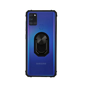 Samsung A21S Case Transparent Black - Ring Popsocket