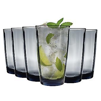 Bormioli Rocco Pulsar Ridged Highball Cocktail Glasses Set - 470ml - Blue - Pack of 6