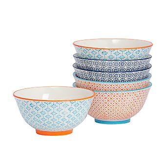 6 Piece Hand-Printed Cereal Bowl Set - Japanese Style Porcelain Breakfast Dessert Serving Bowls - 3 Colours - 16cm