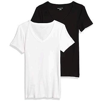 Essentials Women&s 2-Pack Slim-Fit T-Neck z krótkim rękawem, czarny/biały, średni