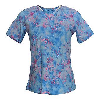 Denim & Co. Women's Top (XXS) Short-Sleeve Tie-Dye Print Blue A375536
