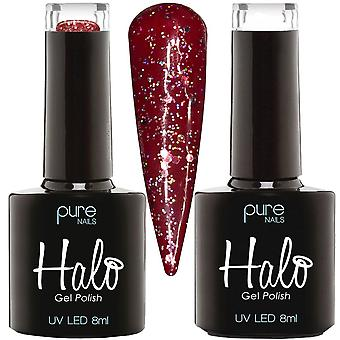 Halo Gel Nails LED/UV Gel Polish Collection - Blood Red & Candy Cane - Duo Set 16 - 2 X 8ml