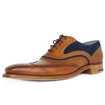 Barker Mcclean Men's Smart Wingtip Brogue Shoes In Cedar/blue