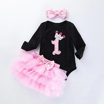 Baby Black Bodysuit Jumpsuits Pettiskirt Set, Pink Princess Tutu Skirt Headband