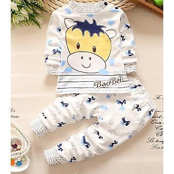 طفل النوم مجموعة ملابس النوم القطن للبنات الأولاد طويلة الأكمام الأطفال ملابس معطف + السراويل Nightgown