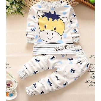 Baby Sleep Set Cotton Sleepwear For Girl Boys Long Sleeve Children Clothes Coat+pants Nightgown