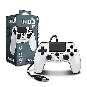 Wired Game Controller til PS4/ PC/ Mac (Hvid) - Armor3