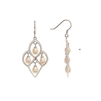Silver örhängen och vita odlade pärlor - Esperanza-apos;