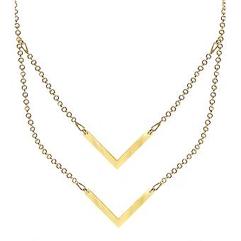 Ah! Jewellery Sterling Silver Layered Style Double Arrow Necklace, 24K Gold Vermeil Over Sterling Silver, Stamped 925