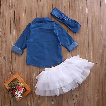 Baby Summer Clothing, Denim Shirt Top, Tutu Skirts & Headband Outfits Sets
