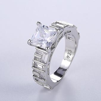 Handmade 925 silver plated ring with zircon with large stone