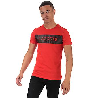 Men's Lacoste Printed Breathable T-Shirt in Red