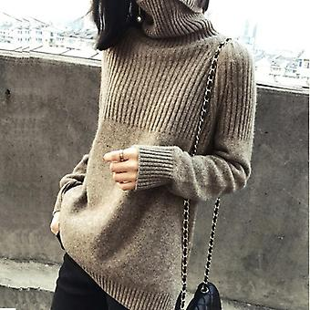 Sweater Women Turtleneck Pullovers Solid Stretch Striped Korean Clothes