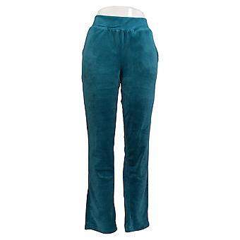 Denim & Co. Women's Pants Velour Pull-On Straight-Leg Green A371336