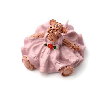 Dolls House Small Teddy Bear In Pink Dress Nursery Ornament Toy Shop Accessory