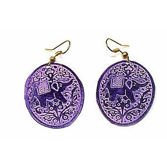 Purple Festival Elephant Earrings