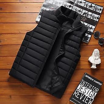 Men' Sleeveless Vest Jackets, Winter Male Cotton-padded Coats, Men Stand