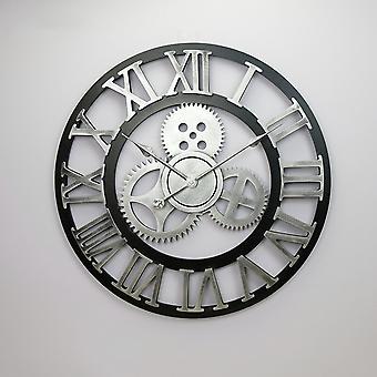 Orologio vintage fatto a mano grande orologio da parete orologio rustico in legno lusso arte decorazione per la casa