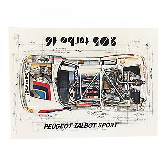 Sebastien Sauvadet Diagram Of A Peugeot Talbot Sport 205 Turbo 16 Print By Sebastien Sauvadet