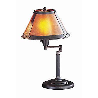 Lámpara de mesa de brazo swing de cuerpo metálico con sombra de mica cónica, bronce