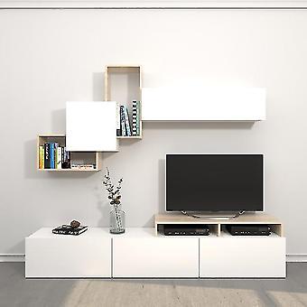 Mobiele Origami TV Port White Color, Sonoma in Melamine Spaanplaat, L200xP33xA42 cm, L186.2XP22xA91.5 cm