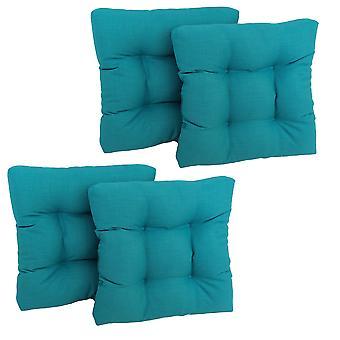 Coussin de chaise touffu en polyester filé de 19 pouces (ensemble de quatre) - Bleu aqua