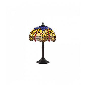 Lámpara De Mesa Tiffany Clio 1 Bombilla Naranja / Azul