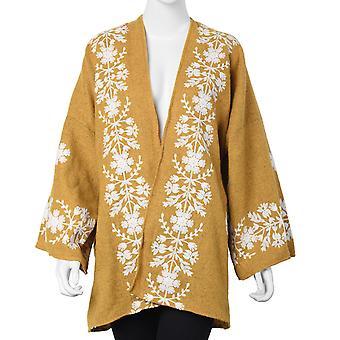 Tweed Floral Border Brodé Kimono Taille 72x80cm - Jaune et Blanc