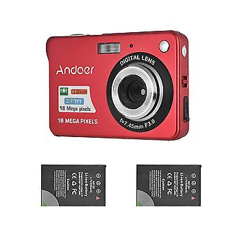 Andoer digital camera with 2pcs batteries, 720p hd 18mp 8x zoom compact camera with 2.7inch lcd scre wof88073
