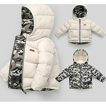 Winter Kids Down Cotton Jacket, Wearable em ambos os lados roupas