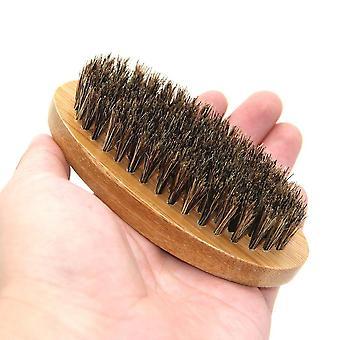 Men Boar Hair Bristle Beard Mustache Brush  (clear)