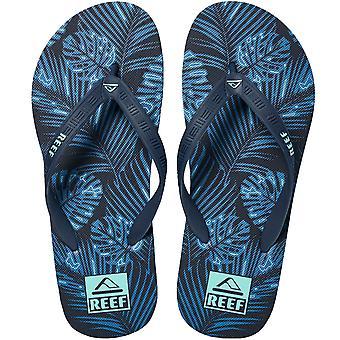 Reef Mens Seaside Prints Sommar Beach Holiday Sliders Sandaler Flip Flops - Navy