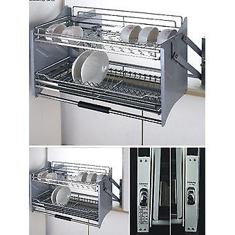 Dish Lifting Pull-out Basket Forced Down Basket Stainless Steel Cabinet Storage