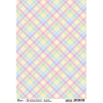 Ciao Bella A4 Rice Paper x5 - Pastel plaid