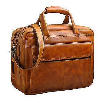 """Högkvalitativa män äkta läder antika stil portfölj verksamhet 15.6 """" bärbara lådor attache messenger väskor portfölj b1001"""
