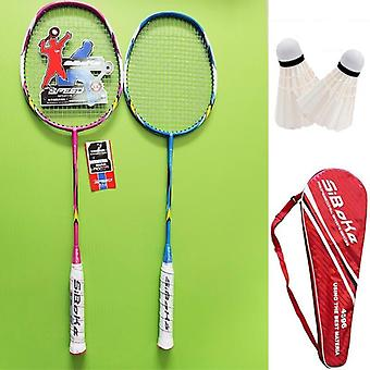 2pcs Professional Carbon Integrated Badminton Rackets Set With 2