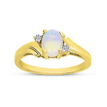 LXR 14k الذهب الأصفر البيضاوي أوبال وخاتم الماس 0.25ct