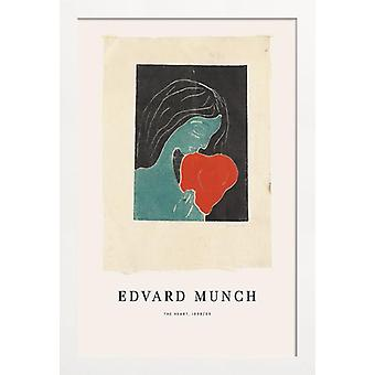 JUNIQE Print - Munch - The Heart - Edvard Munch Poster in Blauw & Crème Wit