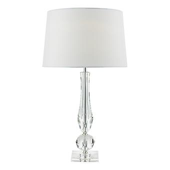 Table Lamp Cut Crystal Base with White Faux Silk Lined Round Tapered Shade