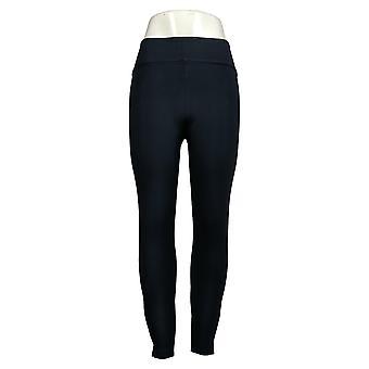 Spanx Leggings Ankle Length Slim Leg Ponte Hem Slit Black A369380
