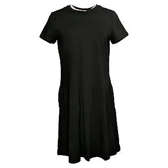 Isaac Mizrahi Live! Petite Dress Solid Knit Short Sleeve Black A379122
