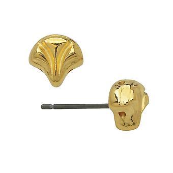 Platillos pendientes postes para ginko perlas, Limani, 2-Agujero hoja 7.5x8mm, 1 par, 24k chapado en oro