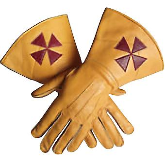 Knight templar yellow color gauntlets red cross soft leather gloves