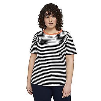 TOM TAILOR MY TRUE ME 1024895 Plussize Striped T-Shirt, 26484-Navy White Regular Stripe, 52 Women