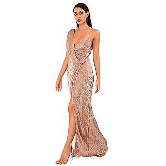 Sexy Rose Gold Deep V-Neck Whit Split Sequins Party Maxi Dress For Ladies