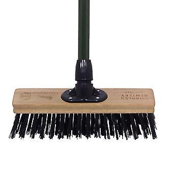 "Charles Bentley Charnwood 12"" Stiff PVC Broom for Garden & Outdoor Maintenance Premium Brushware Green FSC Wood"