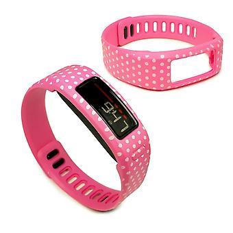 Tuff-Luv Bandje Voor Garmin Vivofit 1 en 2 Groot - Roze met Stippen