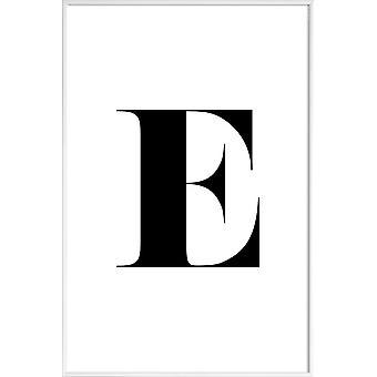 JUNIQE Print -  E - Alphabet & Buchstaben Poster in Schwarz & Weiß